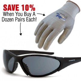 Special Offer! Save 10% When You Buy 1 Dozen Crossfire Core Safety Glasses and G-Tek Touch Gloves