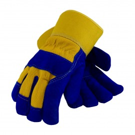 Split Leather Palm with Fabric Back & Fleece Pile Lined Glove - Rubberized Safety Cuff