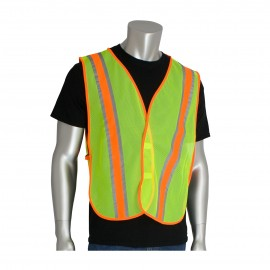 PIP  Non-ANSI Two-Tone Mesh Safety Vest Polyester Hook and Loop closure One Size - 50 / Box