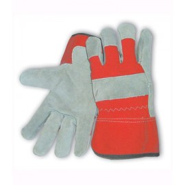 Split Leather Palm with Fabric Back & Red Foam Lined Glove - Rubberized Safety Cuff
