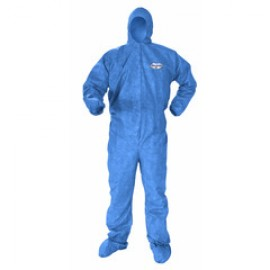 Kimberly Clark Kleenguard A60 Bloodborne Pathogen & Chemical Splash Protection Coverall - Blue Color Serged Seams 24/Case