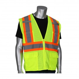 PIP ANSI Type R Class 2 Two-Tone Six Pocket Mesh Polyester Safety Vest Zipper closure Small - 50 / Box