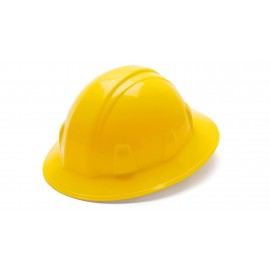 Pyramex Hard Hats Yellow-Full Brim 4 Pt Ratchet Suspension (1 Case of 12)