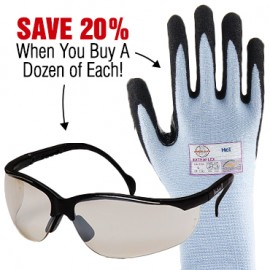 Save 20% When You Buy 12 Pairs Pyramex Venture II Safety Glasses and 12 Pairs of Armor Guys Blue Extra Flex Gloves!