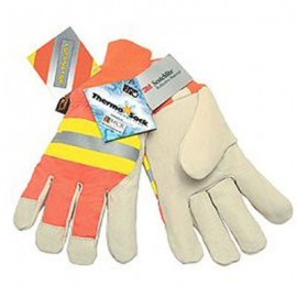 Hi Vis Pigskin Leather Driver Gloves
