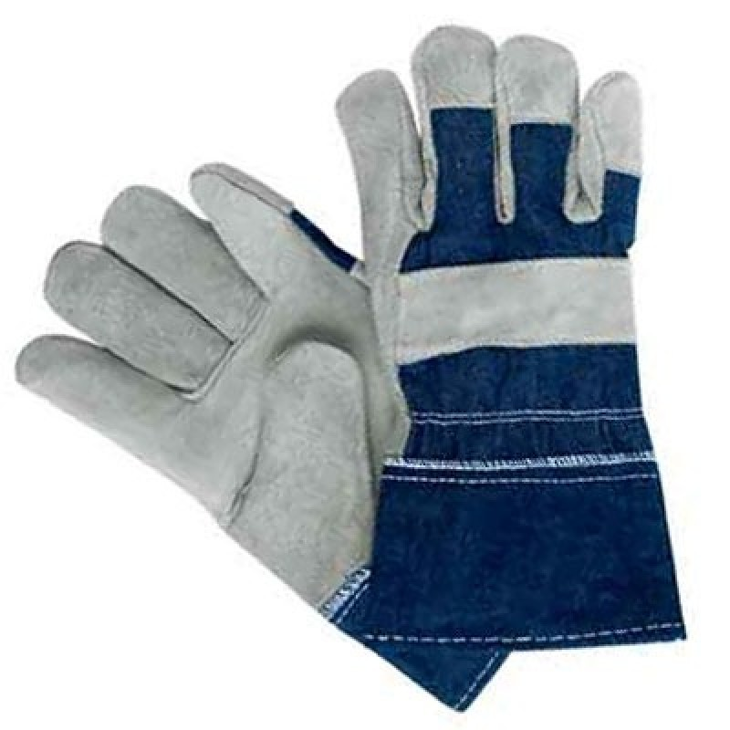 Economy Leather Work Gloves with Denim Back - 12 Pairs / Box