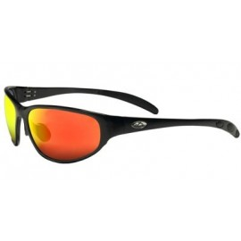 OCC301 Safety Glasses with Black Aluminum Frame and Red Mirror Lens