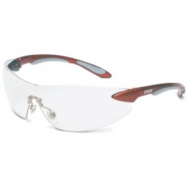 Uvex Ignite Safety Glasses - Red Temples, Anti-Fog Clear Lens