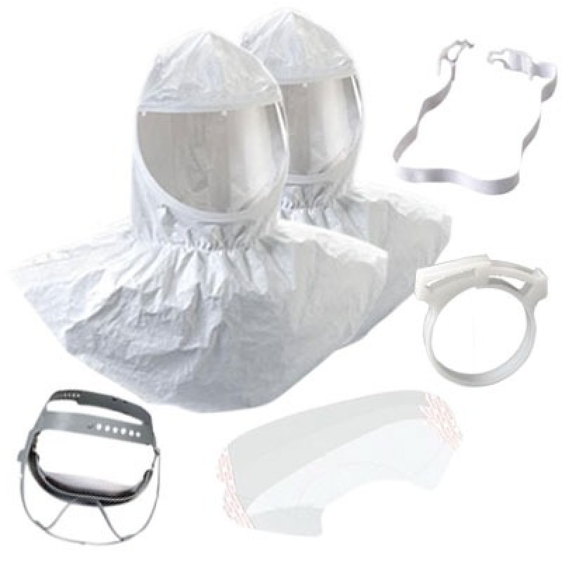 3M Hood Assembly H-411 with Collar and Cap Suspension, Tychem QC