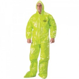 Tychem TK Coveralls with Hood, Attached Boots, Elastic Wrists/Face - Taped Seams