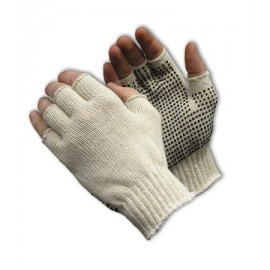 Seamless Knit with PVC Dot Grip Glove - Half-Finger 12 Pairs