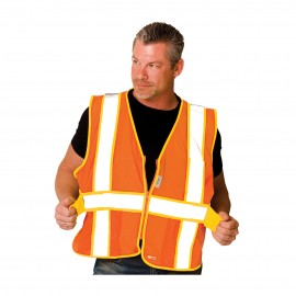 PIP Polyester ANSI Type R Class 2 Expandable Two-Tone Mesh Safety Vest Zipper closure One Size - 50 / Box