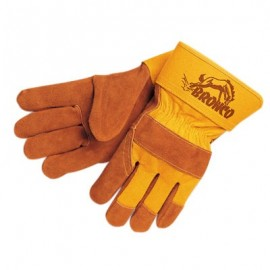 MCR Memphis Gloves Bronco Leather Palm Gloves 1 Pair Color Yellow
